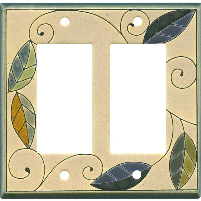 Mosaic Leaves Ceramic2-Gang Decorator / GFCI Rocker Wall Plate Cover