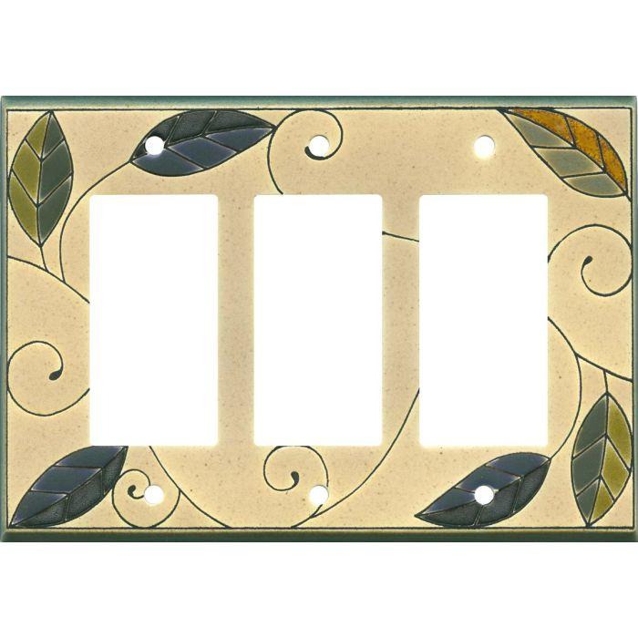 Mosaic Leaves Ceramic Triple 3 Rocker GFCI Decora Light Switch Covers