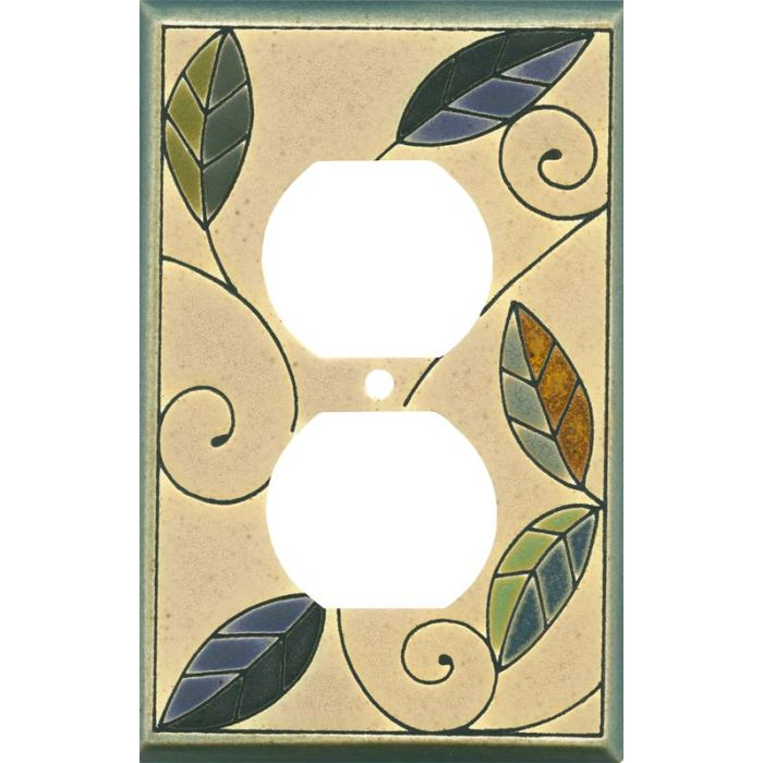 Mosaic Leaves Ceramic1 - Gang Duplex Outlet Cover Wall Plate