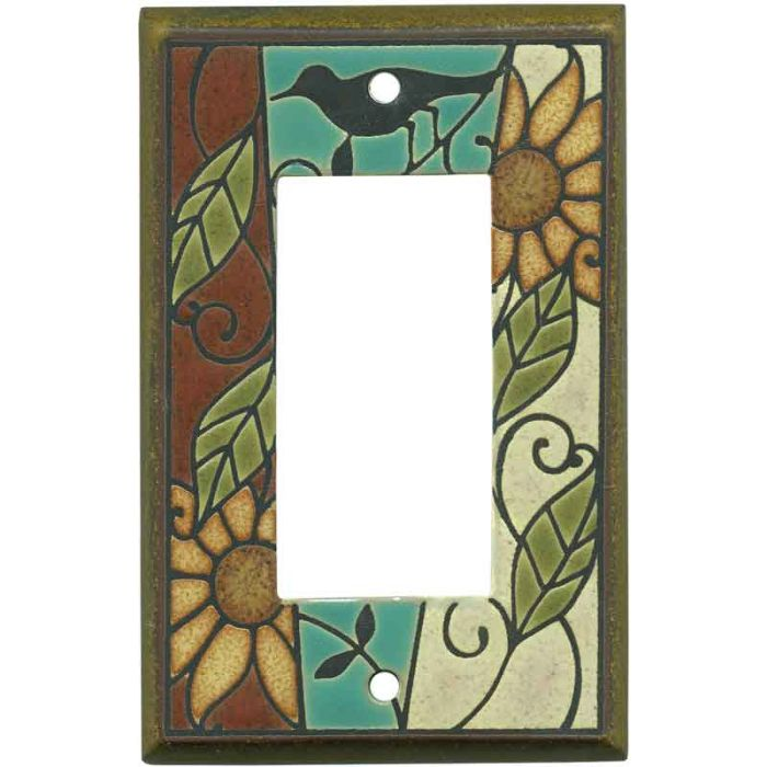 Mosaic Sunflower Ceramic Single 1 Gang GFCI Rocker Decora Switch Plate Cover