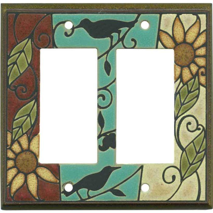 Mosaic Sunflower Ceramic 2-Gang Decorator / GFCI Rocker Wall Plate Cover