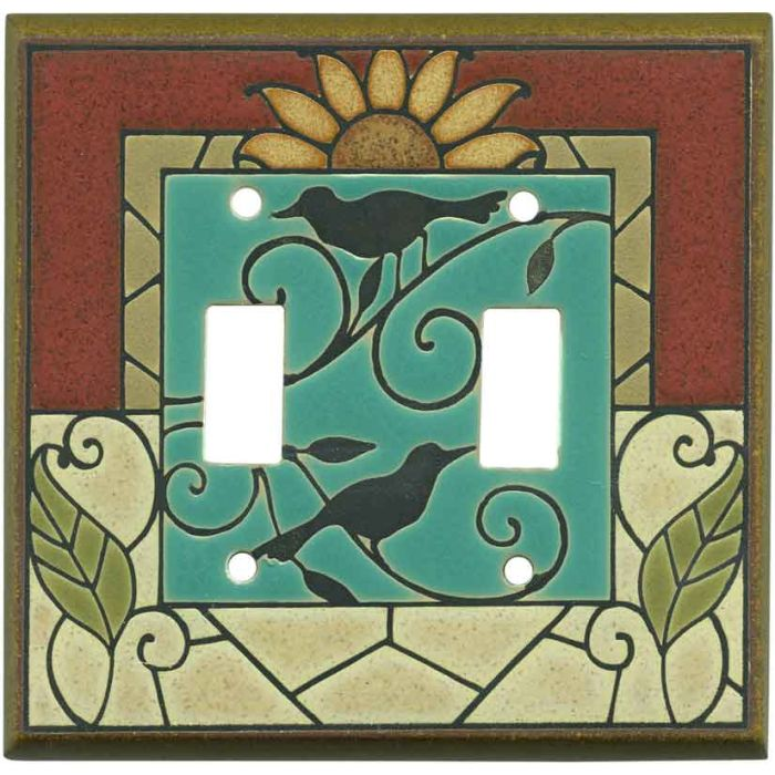Mosaic Sunflower Ceramic 2 Toggle Switch Plates