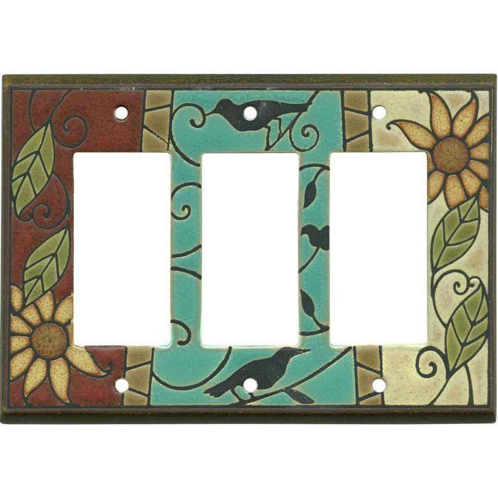 Mosaic Sunflower Ceramic 3 - Rocker / GFCI Decora Switch Plate Cover