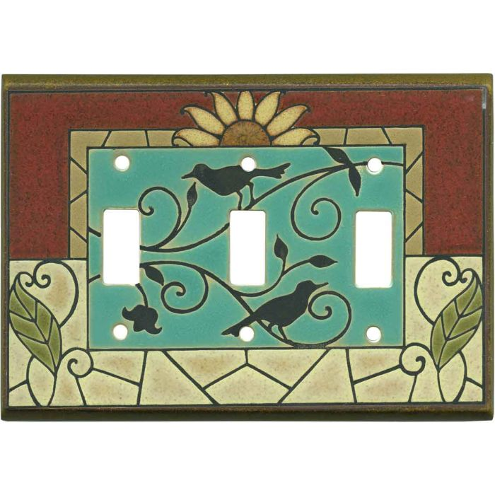 Mosaic Sunflower Ceramic 3 - Toggle Switch Plates