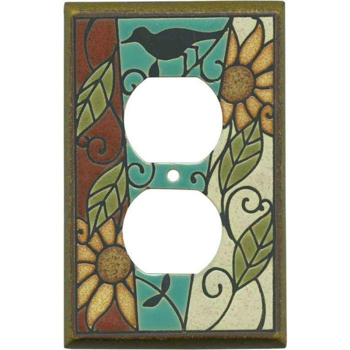 Mosaic Sunflower Ceramic 1 Gang Duplex Outlet Cover Wall Plate