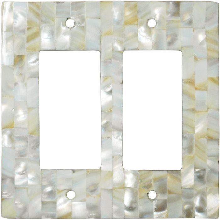 Straight Mother of Pearl - 2 Gang Double GFCI Rocker Wallplates