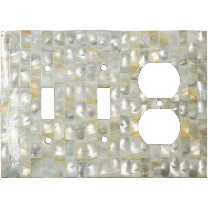 Straight Mother of Pearl Double 2 Toggle / Outlet Combination Wall Plates