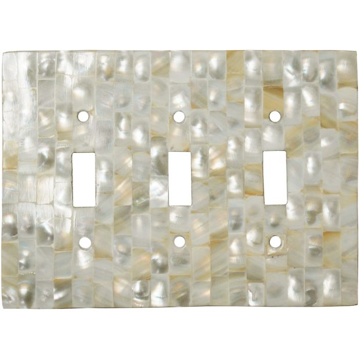 Straight Mother of Pearl Triple 3 Toggle Light Switch Covers