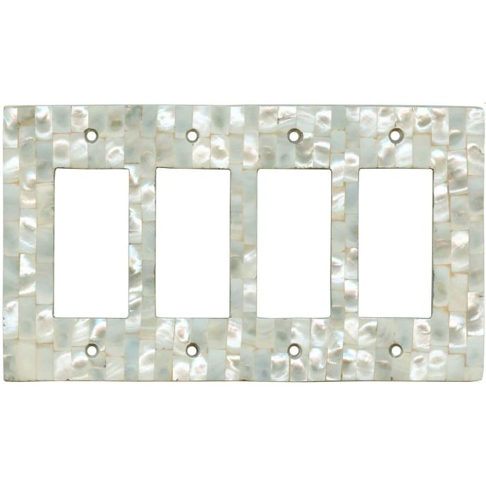 Straight Mother of Pearl 4 Rocker GFCI Decorator Switch Plates