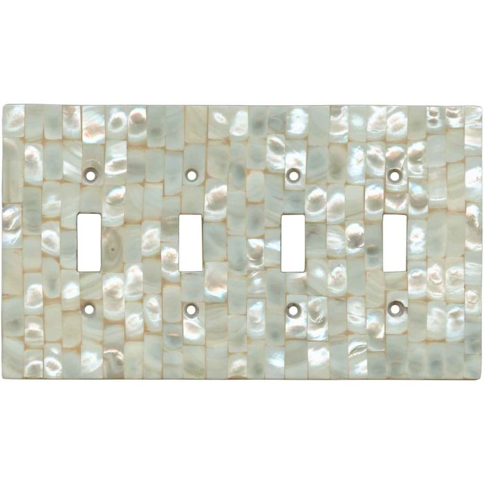 Straight Mother of Pearl - 4 Toggle Light Switch Covers