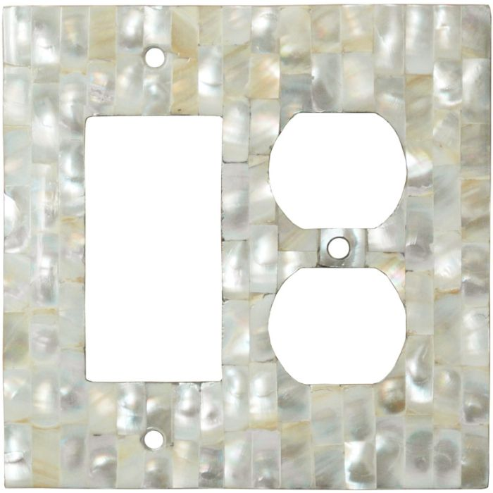 Straight Mother of Pearl - GFCI Rocker/Duplex Outlet Wall Plates