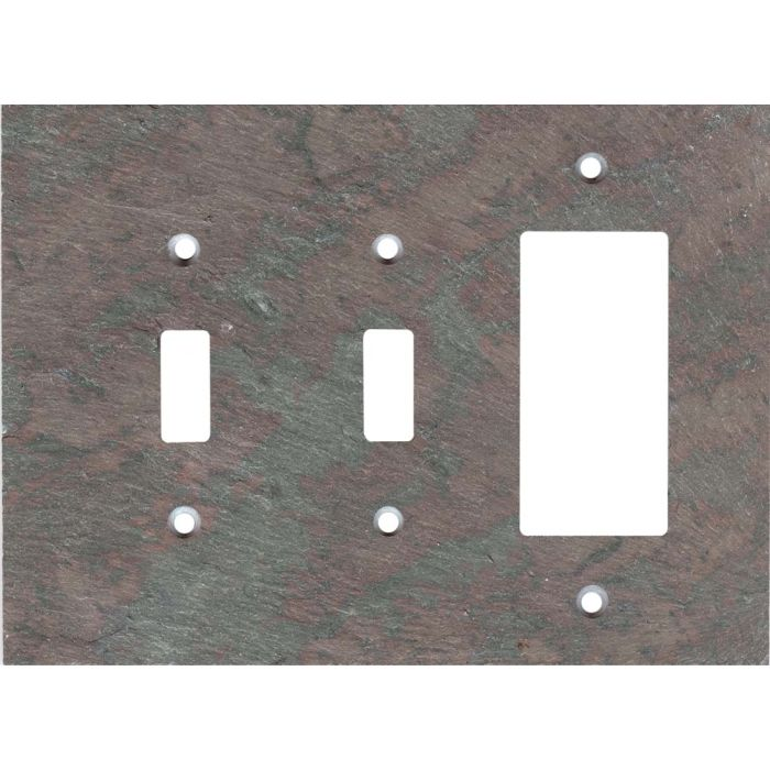 Vermont Mottled Slate Double 2 Toggle / 1 GFCI Rocker Combo Switchplates