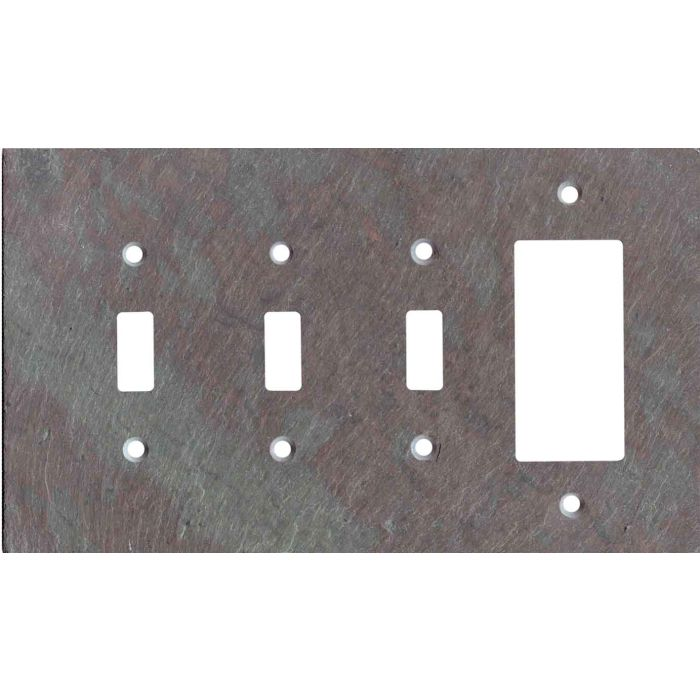 Vermont Mottled Slate Triple 3 Toggle / 1 Rocker GFCI Switch Covers