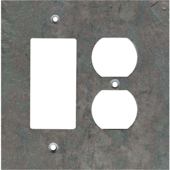 Vermont Mottled Slate Combination GFCI Rocker / Duplex Outlet Wall Plates