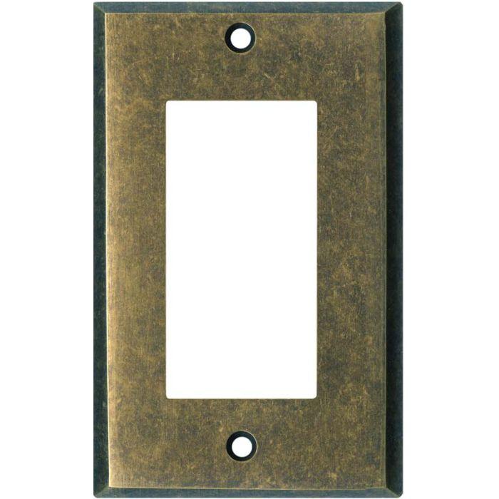 Dark Mottled Antique Brass Single 1 Gang GFCI Rocker Decora Switch Plate Cover