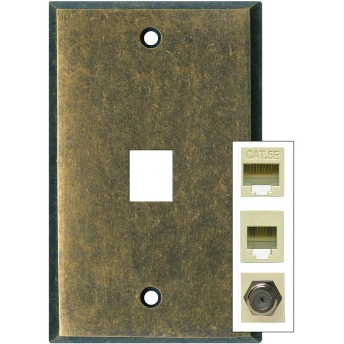 Dark Mottled Antique Brass 1 Port Modular Wall Plates for Phone, Data, Phone