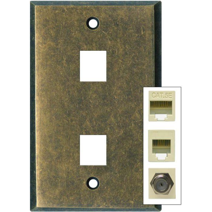 Mottled Antique Brass - Double Port Modular Wall Plates