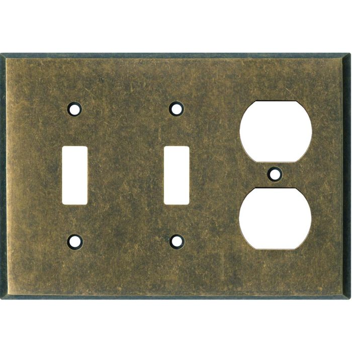 Mottled Antique Brass Double 2 Toggle / Outlet Combination Wall Plates
