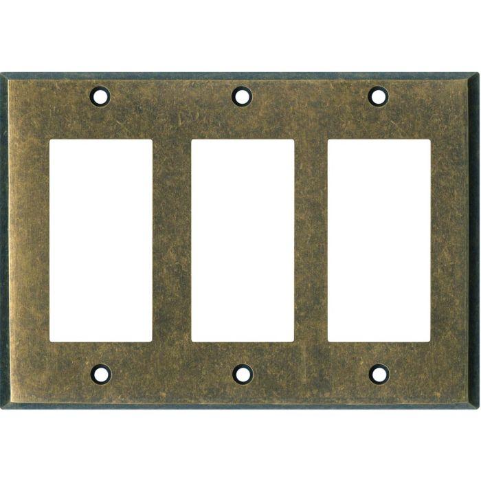 Dark Mottled Antique Brass Triple 3 Rocker GFCI Decora Light Switch Covers