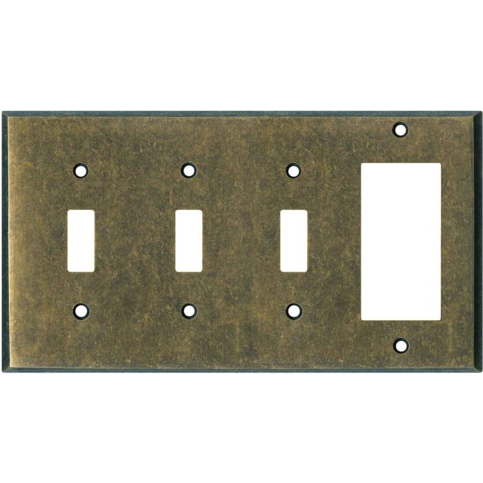 Dark Mottled Antique Brass Triple 3 Toggle / 1 Rocker GFCI Switch Covers