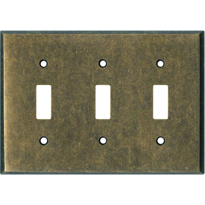 Mottled Antique Brass Triple 3 Toggle Light Switch Covers