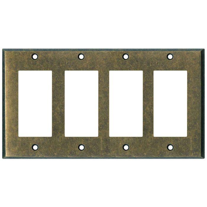 Mottled Antique Brass - 4 Rocker GFCI Decora Switch Plates