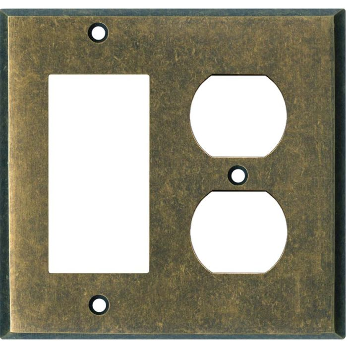 Dark Mottled Antique Brass Combination GFCI Rocker / Duplex Outlet Wall Plates