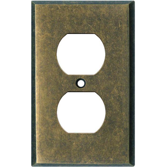 Dark Mottled Antique Brass 1 Gang Duplex Outlet Cover Wall Plate