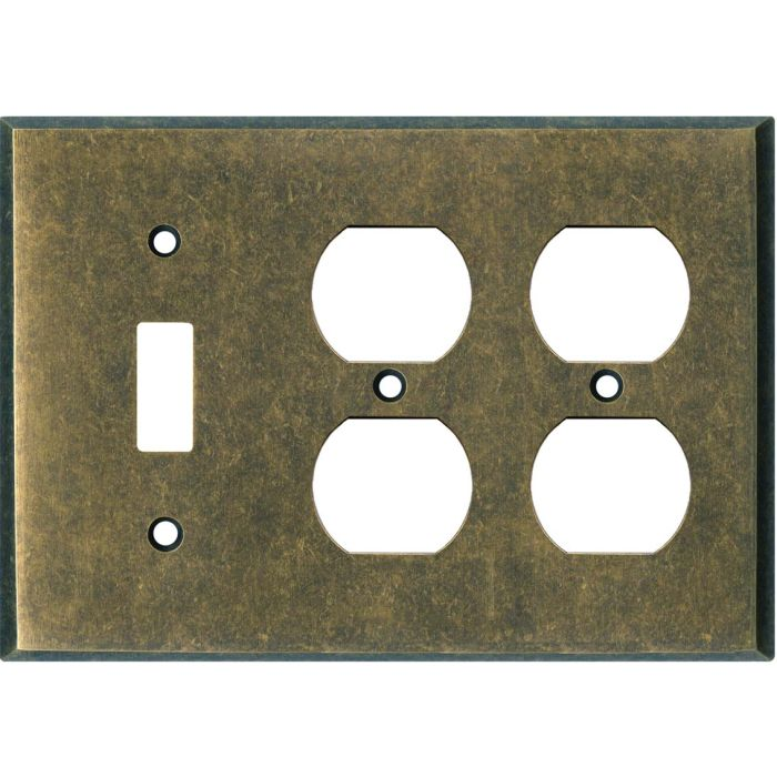 Dark Mottled Antique Brass Combintion Single 1 Toggle / Double 2 Outlet Wall Plates