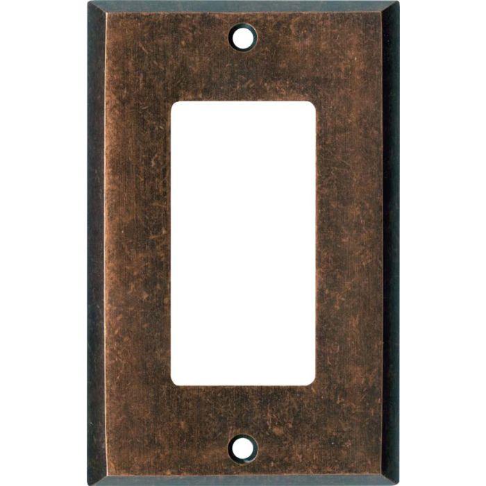 Mottled Antique Copper Single 1 Gang GFCI Rocker Decora Switch Plate Cover