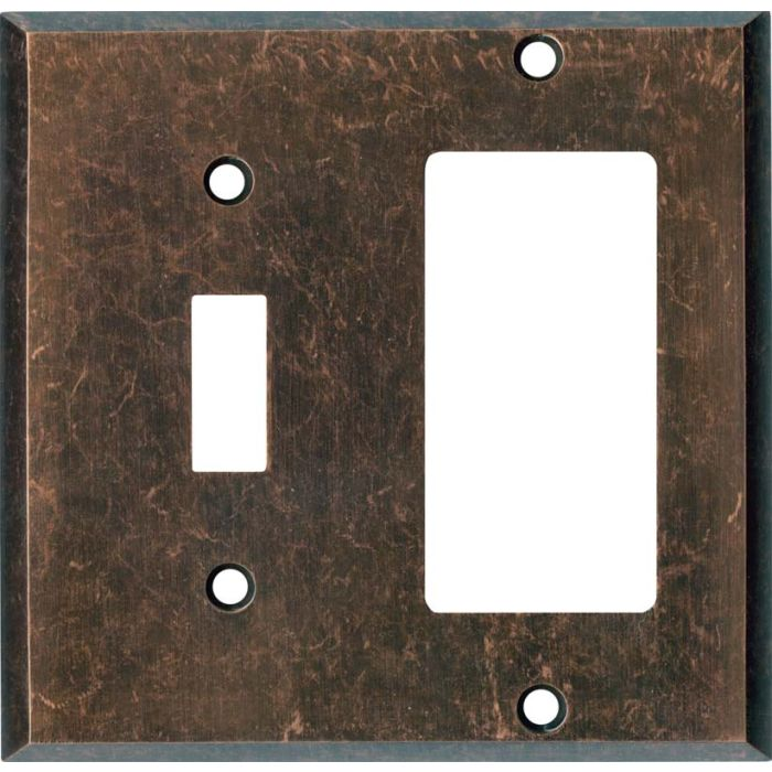 Mottled Antique Copper - Combination 1 Toggle/Rocker Switch Covers