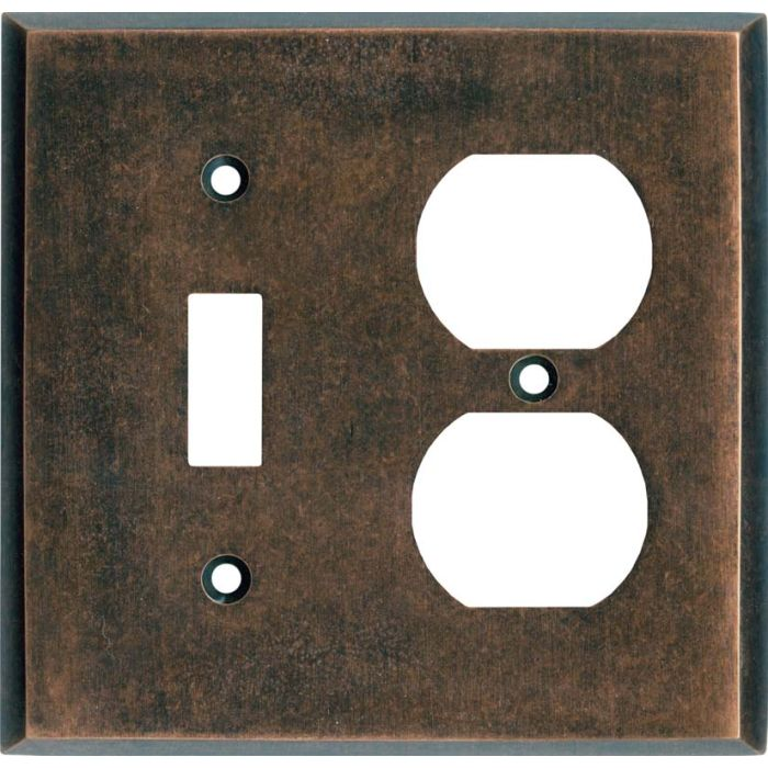 Mottled Antique Copper - Combination 1 Toggle/Outlet Cover Plates