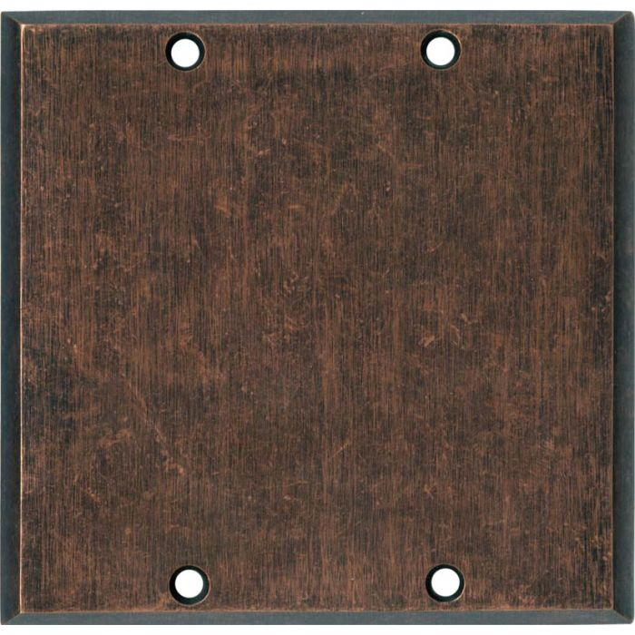 Mottled Antique Copper Double Blank Wallplate Covers