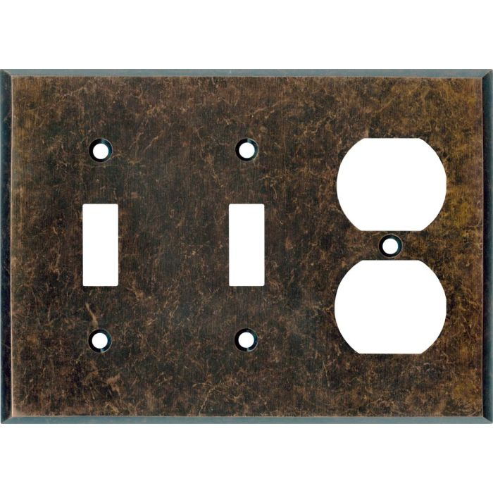 Mottled Antique Copper - 2 Toggle/Outlet Combo Wallplates