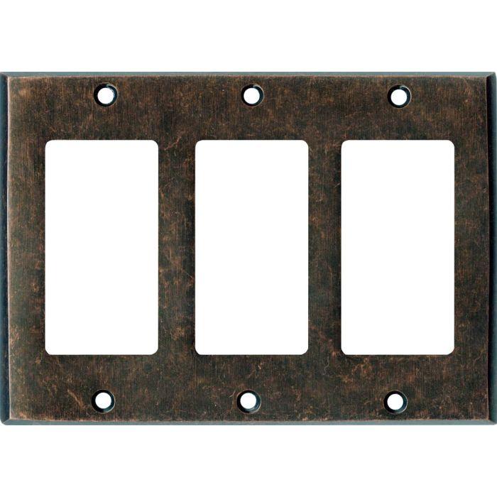 Mottled Antique Copper - 3 Rocker GFCI Decora Switch Covers