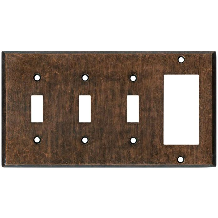 Mottled Antique Copper Triple 3 Toggle / 1 Rocker GFCI Switch Covers