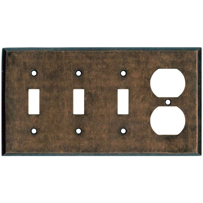 Mottled Antique Copper - 3 Toggle/Outlet Combo Wallplates