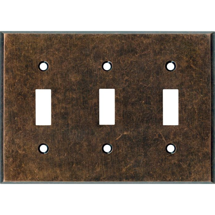 Mottled Antique Copper Triple 3 Toggle Light Switch Covers