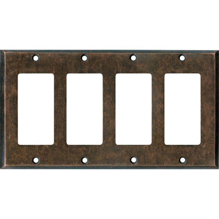 Mottled Antique Copper - 4 Rocker GFCI Decora Switch Plates