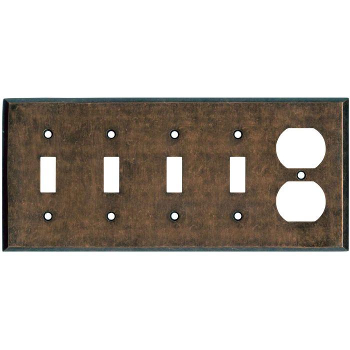 Mottled Antique Copper - 4 Toggle/Duplex Outlet Combo Plates