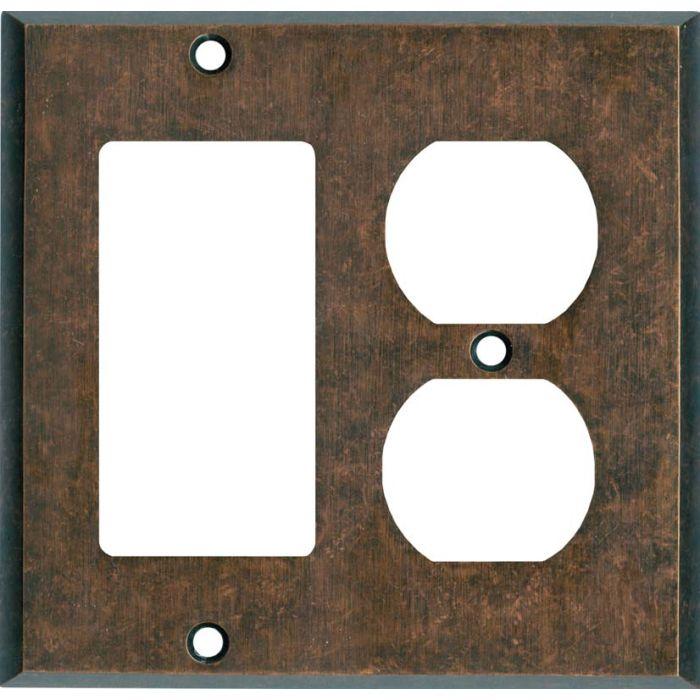 Mottled Antique Copper Combination GFCI Rocker / Duplex Outlet Wall Plates