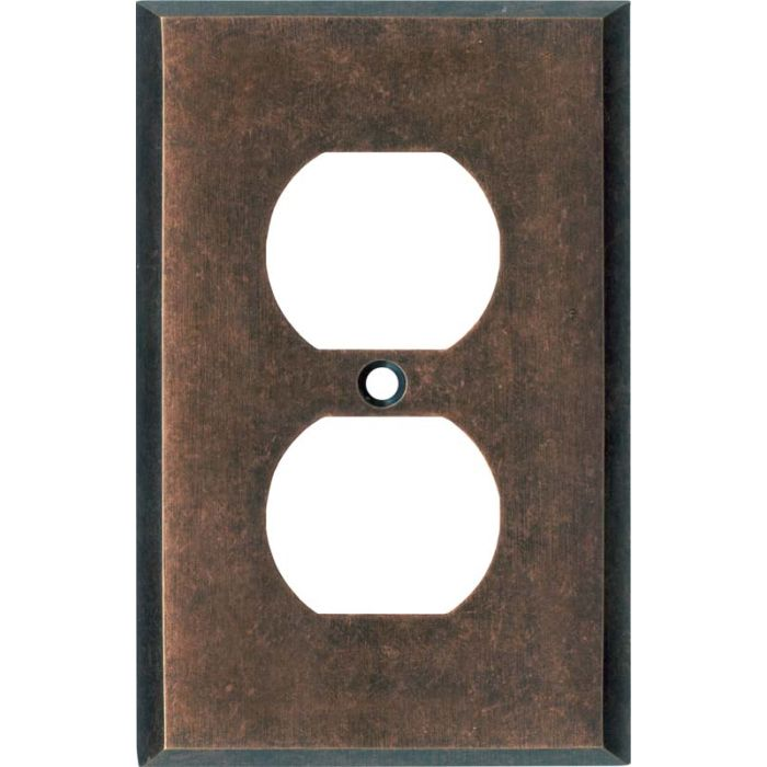 Mottled Antique Copper 1 Gang Duplex Outlet Cover Wall Plate