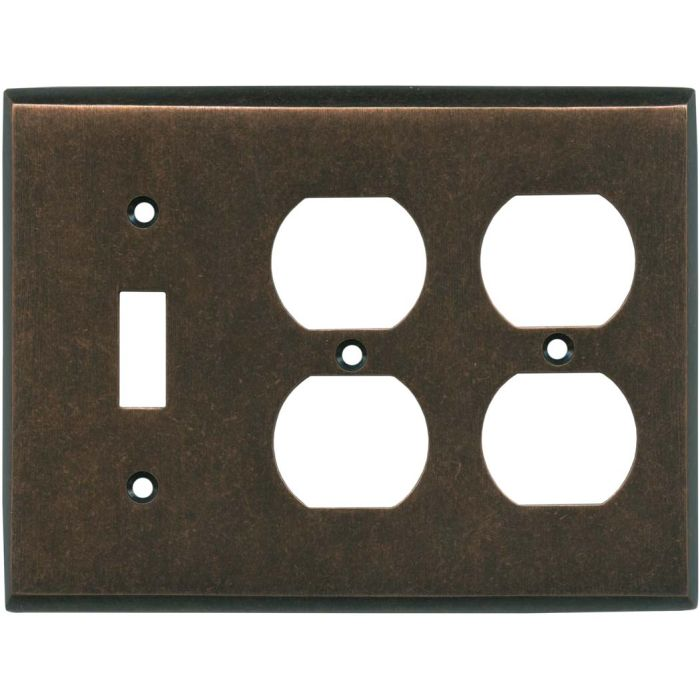 Mottled Antique Copper - 1 Toggle/2 Duplex Outlet Wall Plates