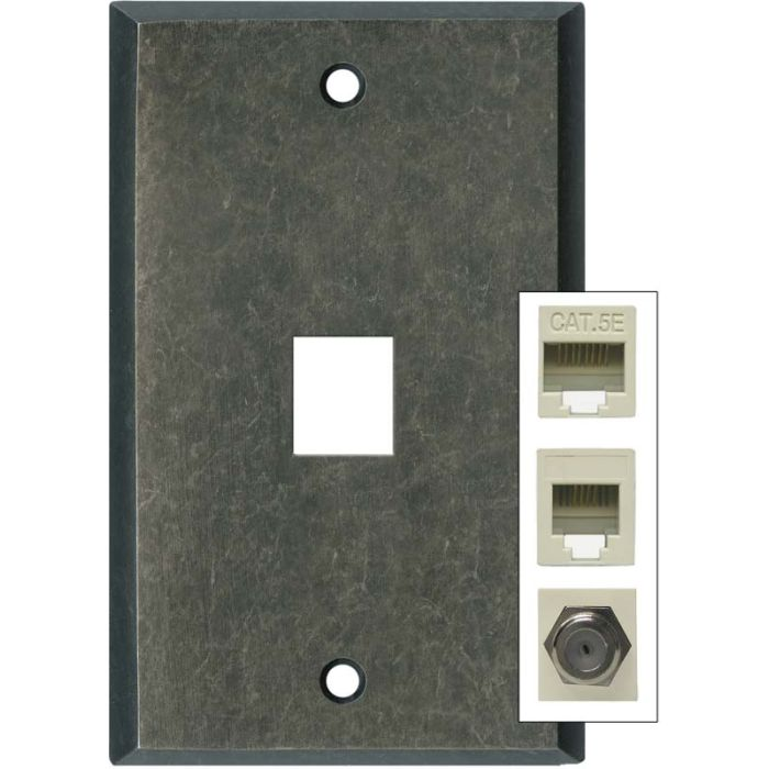 Mottled Antique Pewter 1 Port Modular Wall Plates for Phone, Data, Phone