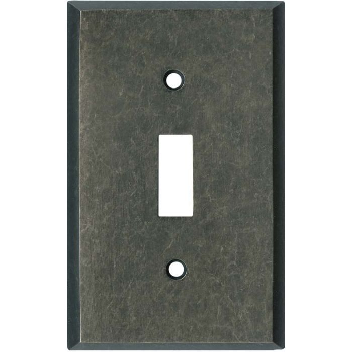 Mottled Antique Pewter Single 1 Toggle Light Switch Plates