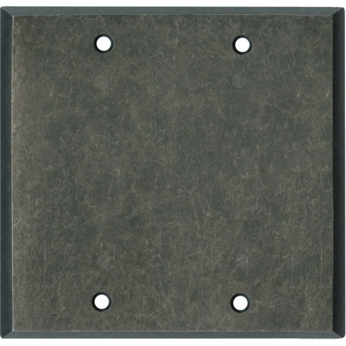 Mottled Antique Pewter Double Blank Wallplate Covers