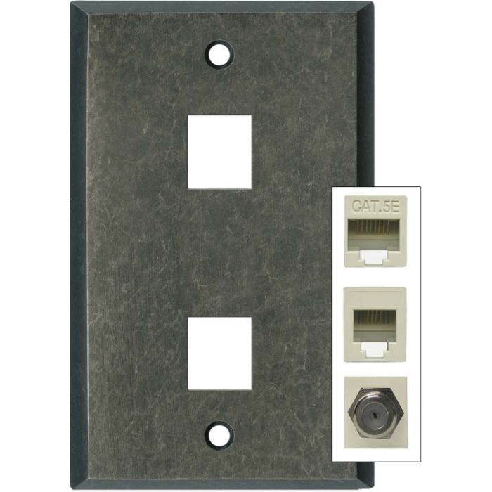 Mottled Antique Pewter Double Port Modular Wall Plates for Data, Phone, Cable