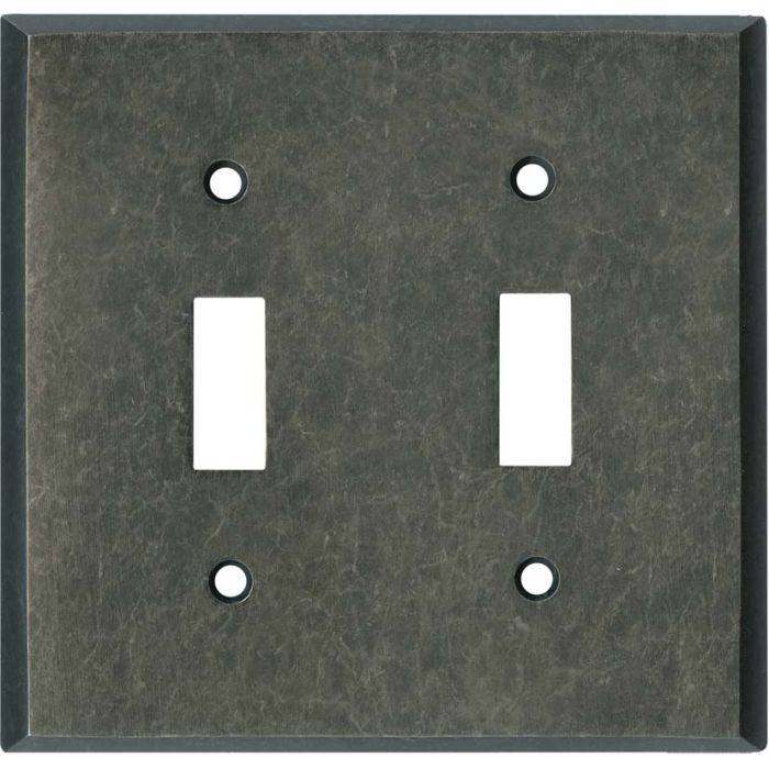 Mottled Antique Pewter Double 2 Toggle Switch Plate Covers