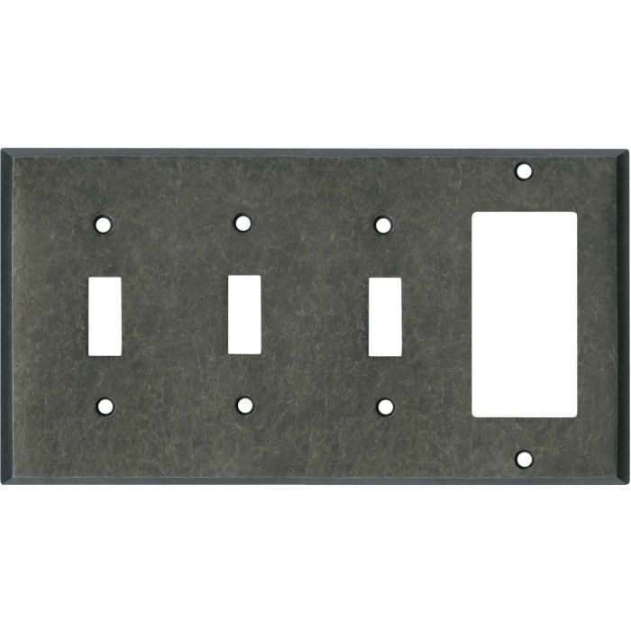 Mottled Antique Pewter Triple 3 Toggle / 1 Rocker GFCI Switch Covers