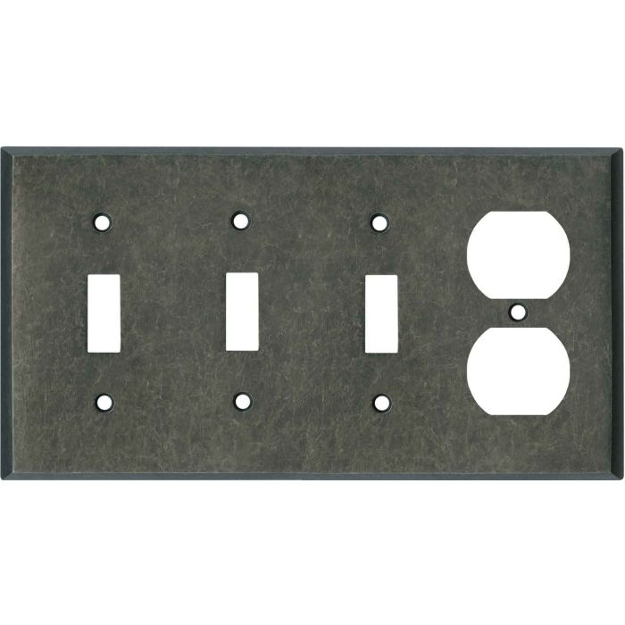 Mottled Antique Pewter Combination Triple 3 Toggle / Outlet Wall Plate Covers